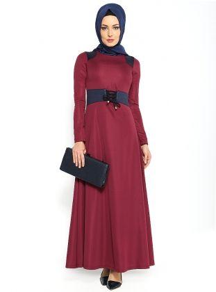 Beli Bağcıklı Elbise - Mürdüm - Refka :: Zinde Market