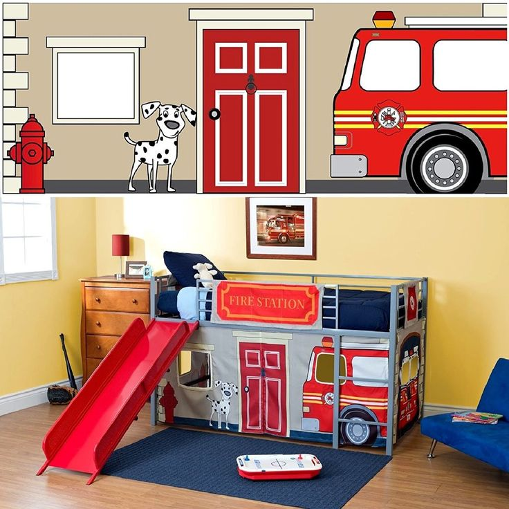 Fire Department Curtain Set Twin Kids Slide Bed Loft Dorel Home Products Junior  #DorelHome