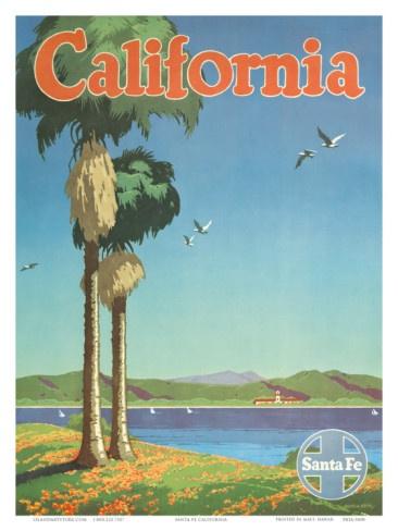 Santa Fe Railroad, California, Coastline and Spanish Mission, 1940s Art Print