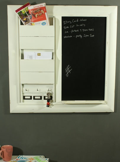 Large Shabby Chic Notice Pin Memo Black Board With Letter Rack In Antique White Ebay