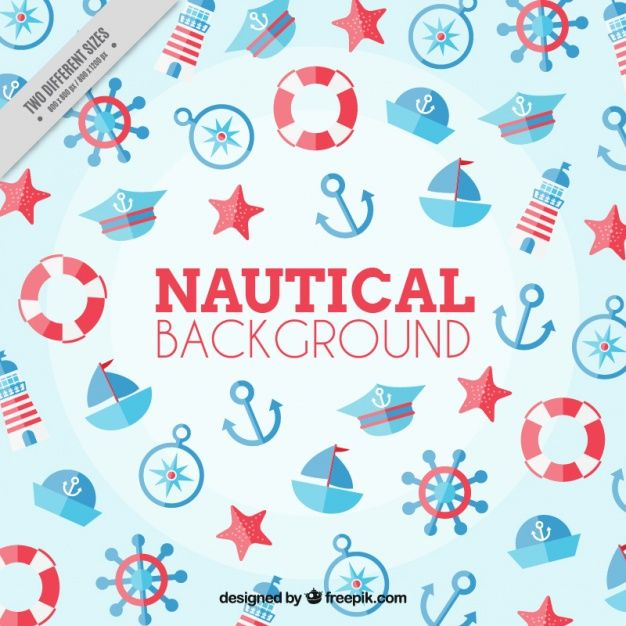 Nautical background, red and blue color Free Vector