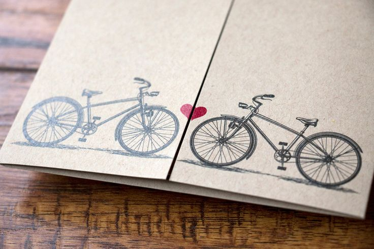 Custom Bicycle Themed Wedding Invitation, Gate Fold — Alex Tebow Designs