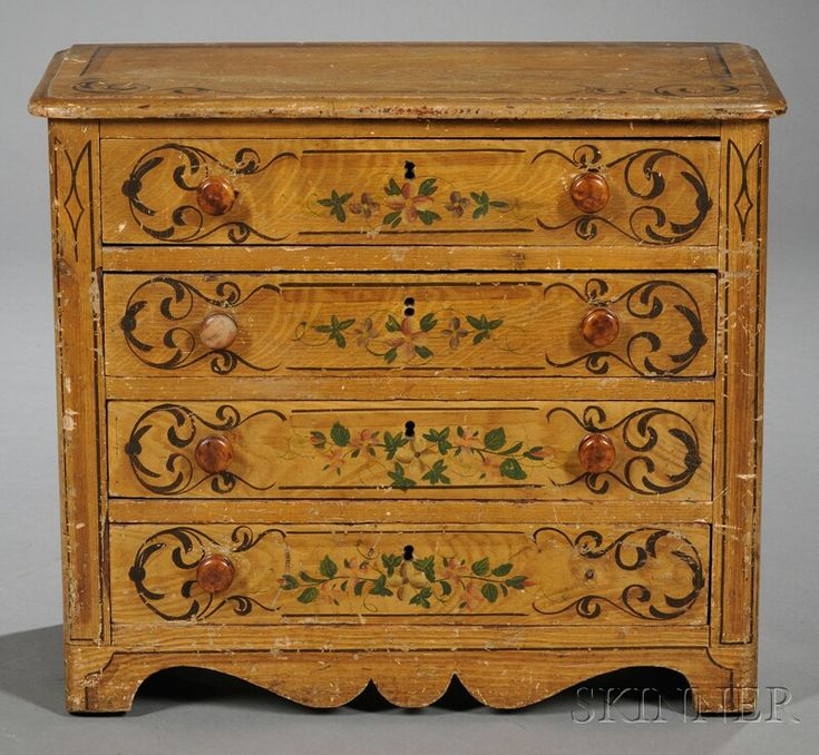 Faux Grained and Painted Doll's Chest of Drawers | Sale Number 2566B, Lot Number 735 | Skinner Auctioneers