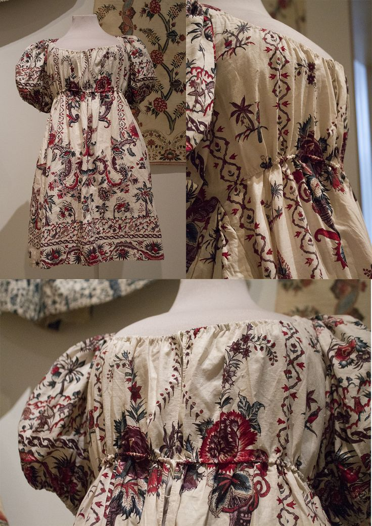 Empire jacket (1810-1820) of 18th century chintz (originally a skirt, fabric ca. 1750-1775). This was taken by the lady upon her marriage, together with 2 thin cotton jackets of exactly the same cut. This one was a bit old-fashioned due to the fabric (chintz is really too stiff for the empire style), so probably would've been worn for work or unformal occasions.  Collection page:https://www.modemuze.nl/collecties/empirejak-van-sits-met-een-randmotief-verwerkt-langs-zoom-en-mouwen
