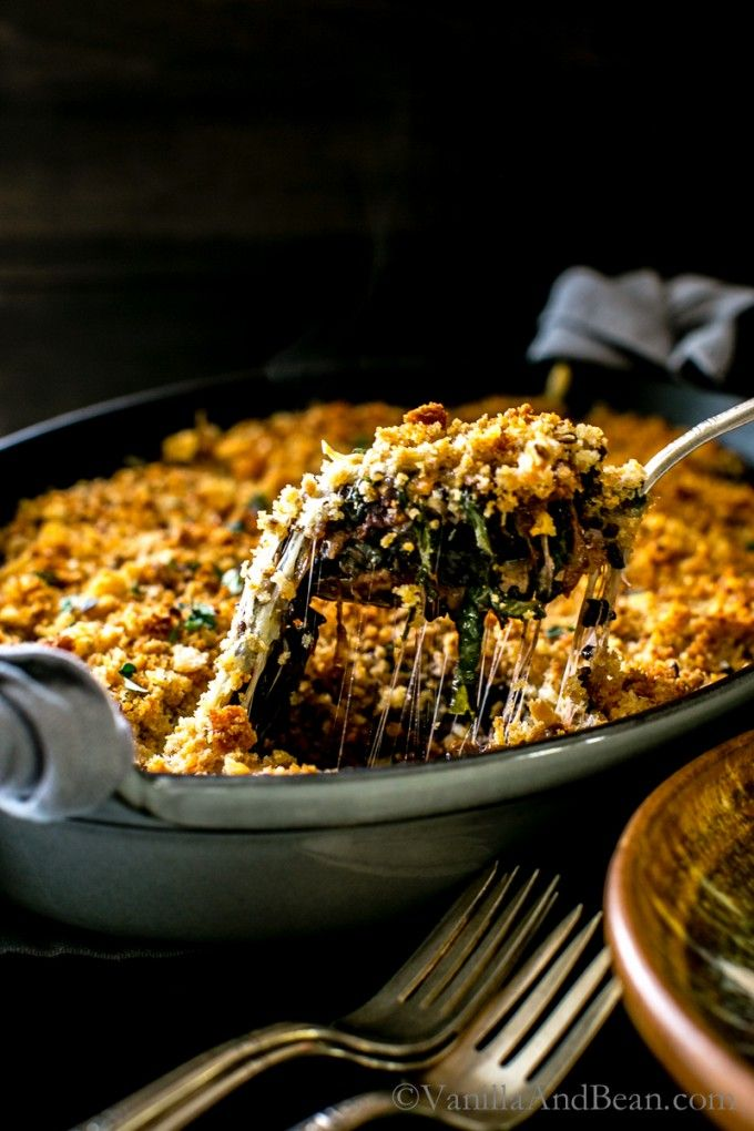 Porcini Mushroom Greens and Forbidden Rice Gratin | Vanilla And Bean