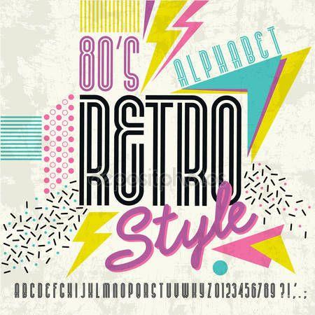 Скачать - 80-х ретро алфавит шрифт. Ретро алфавит Векторный старый стиль графический плакат. 80-х годов стиль — стоковая иллюстрация #127583916