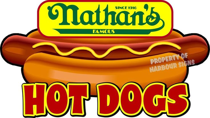 """Nathan's Hot Dogs 14"""" Hotdogs Restaurant Concession Food Truck Vinyl Sticker #HarbourSigns"""