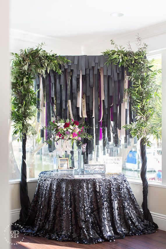 Black Sequin Tablecloth by CandyCrushEvents on Etsy