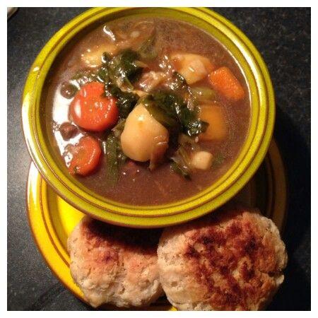 Hearty beef stew and suet dumplings x