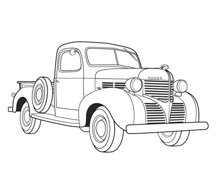 Dodge Pickup 1939 Old Car Coloring Pages | Free Online Cars Coloring Pages For Kids