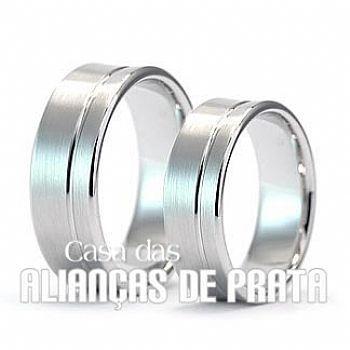 Alianças de compromisso em prata 950 Peso aproximado: 14 gramas o par Largura: 6,00 mm Anatômica  Acabamento Fosco