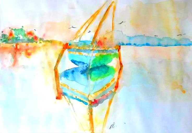 Bazaruto Dhow I. Watercolour on 140 gram paper.420 mm 594 mm.  Original.