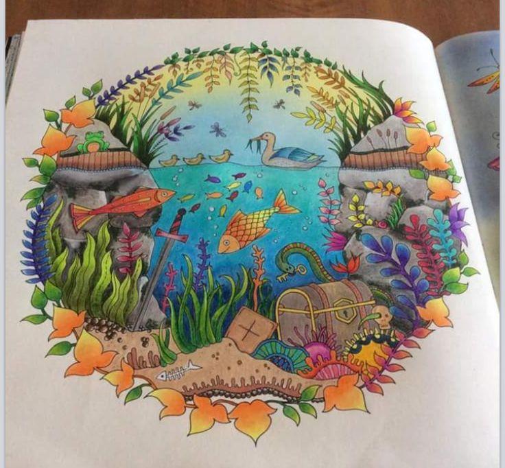Aquarium Enchanted Forest Aquario Floresta Encantada Johanna Basford Coloring BookPrismacolorColoring