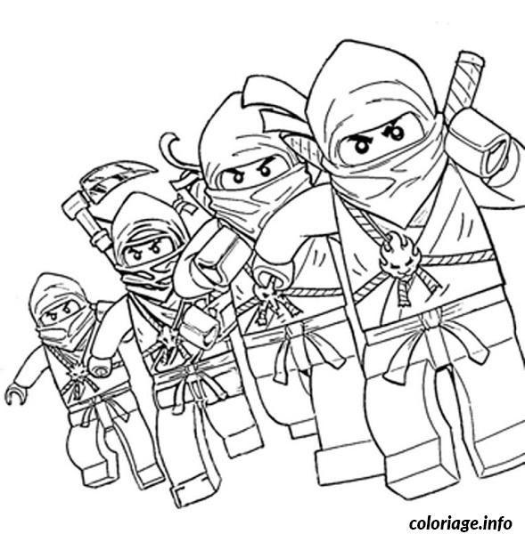 Coloriage dessin Ninjago 4 ninjas Dessin à Imprimer