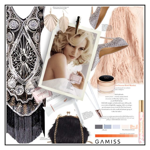 """""""Party time-Gamiss-Win $20!"""" by kroton ❤ liked on Polyvore featuring T3, Versace, Tommy Hilfiger, Tory Burch, Show Beauty, contest, dress, party and gamiss"""