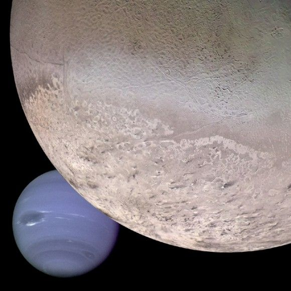 Montage of Neptune and Triton captured by NASA's Voyager 2, which flew past the planet in 1989. Voyager 2 was the first and still the only space-craft to reach Uranus and Neptune, and gave us the only close up pictures of the planets.