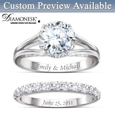 Shop The Bradford Exchange Online for Diamonesk Personalized Bridal Ring Set. A life of love spent together all starts with a promise - so make that pledge with this magnificent personalized bridal ring set! Give her the ultimate brilliance of this Diamonesk&reg....