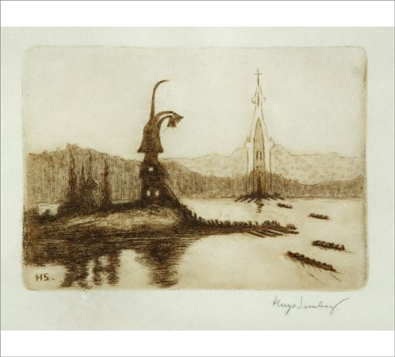 Artwork by Hugo Simberg, Two Churches, Made of etching