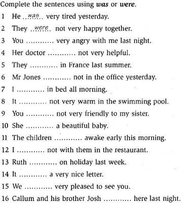 simple past verb to be exercises
