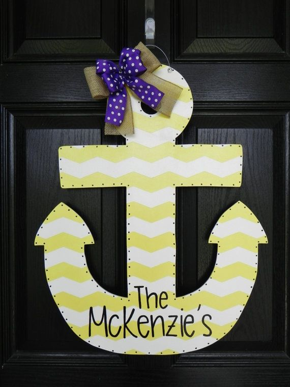 """Change the colors & wording to """"He's Here!"""" with birth name & details... and I've got my Hospital Door Hanger!!!!!!  Personalized Wooden Anchor Door Hanger by TylerCatherines on Etsy, $45.00"""