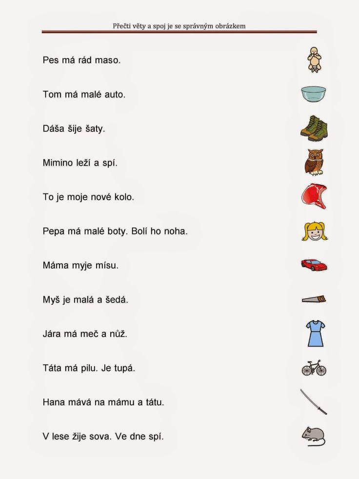 Přečti věty a spoj je se správným obrázkem