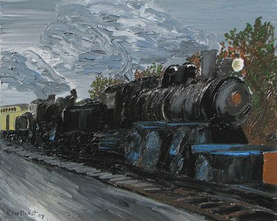 Acrylic Paintings Of Trains Night Train 2007 24x30in