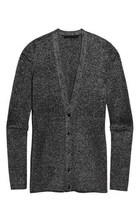 Shop Lurex Wrapped Rib Ribbed Cardigan With Pinched Darts by Alexander Wang for Preorder on Moda Operandi