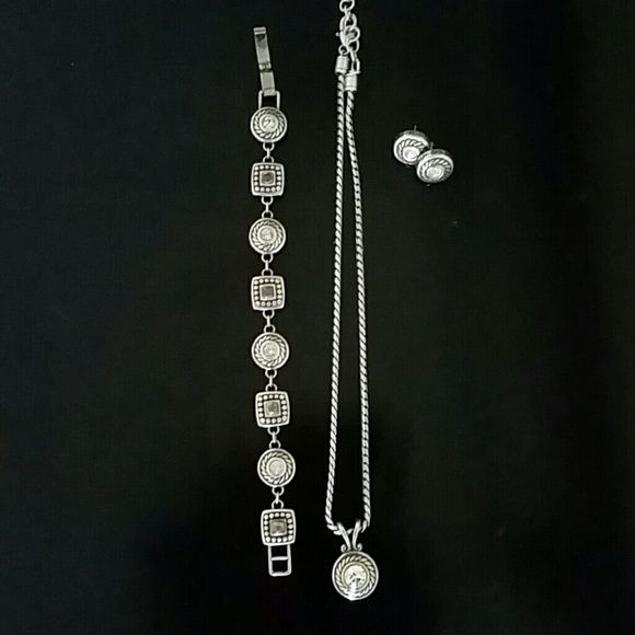 Brighton reversible necklace, bracelet and earring Silver and gold tone brighton jewelry with cz accents. Brighton  Jewelry Necklaces