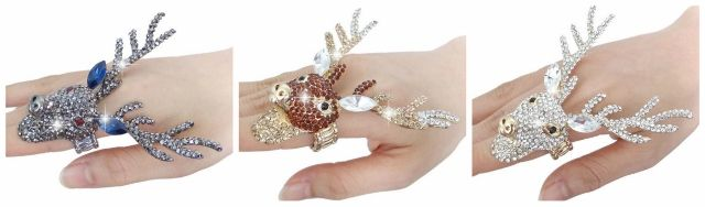 COUNTRY COWGIRL RING Rhinestone and Austrian Crystal Deer Buck Gold Western Ring