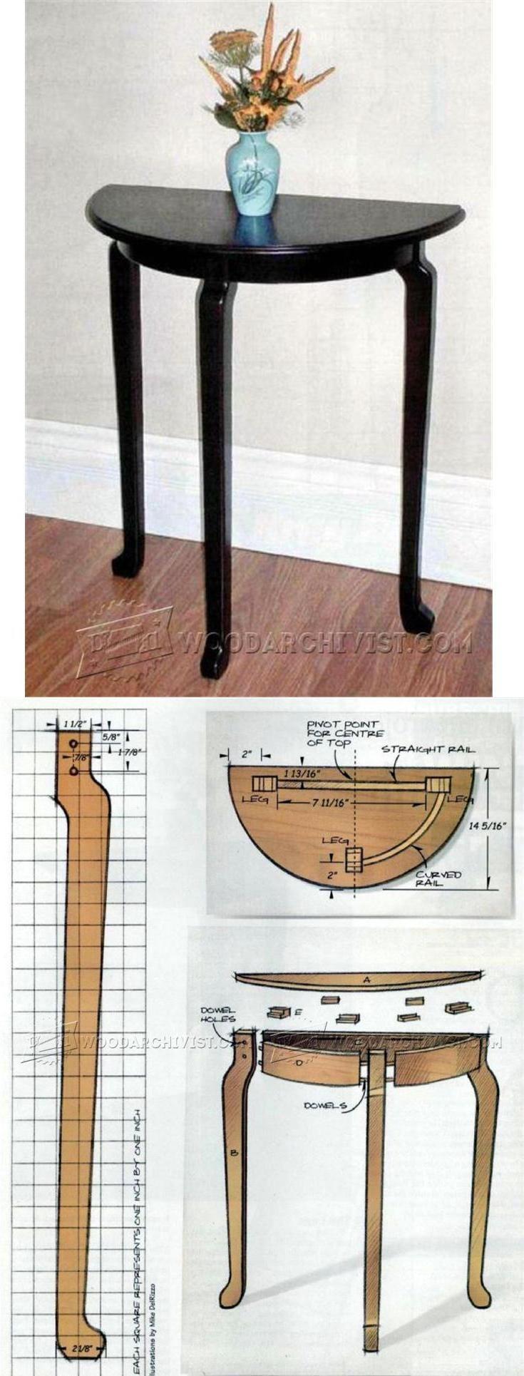 Demilune Table Plans -  Furniture Plans and Projects  | WoodArchivist.com