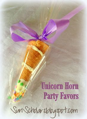 Sun Scholars: Unicorn Horn Party Favors. These are simple to make and so sweet. A great little party favor for a magical party! #unicorn #partyfavors #unicornhorn