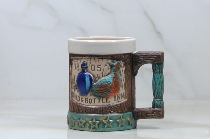 Vintage Ceramic Stein, by Napcoware, Bird and Bottle Inn Stein, Beer Stein, Beer Mug, Bier Stein, Bier Mug, Barware, Mug, Tankard, C 6728 by winterparkcollect on Etsy