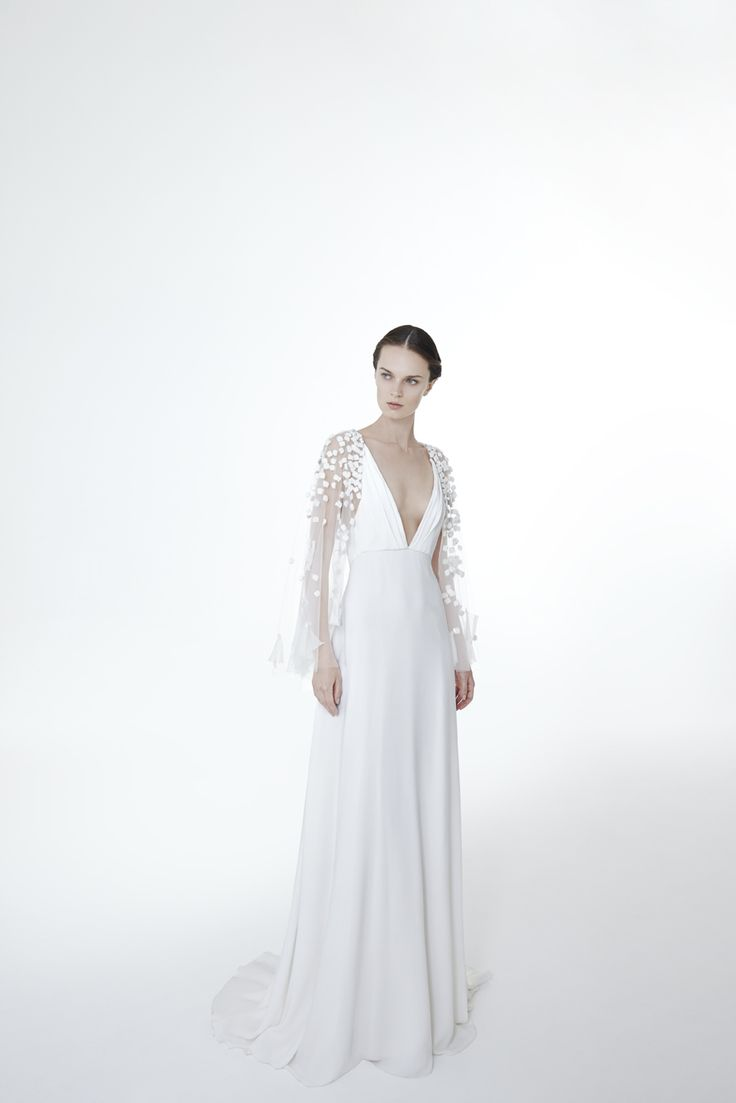 Style VERONIQUE: Sheath gown in silk crepe cady with embroidered sleeves with chiffon cubes