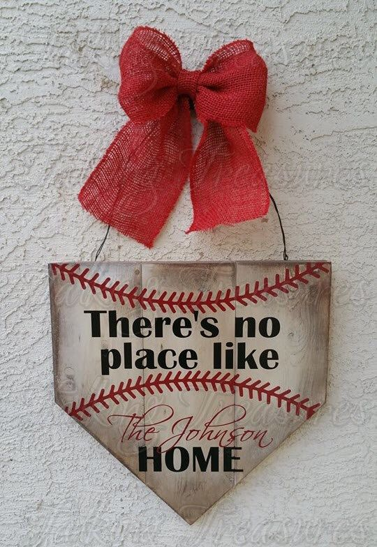 Baseball Home Plate Door Hanger   Baseball Wreath   Baseball Home Plate  Sign   Thereu0027s No Place Like Home   Personalized Door Sign