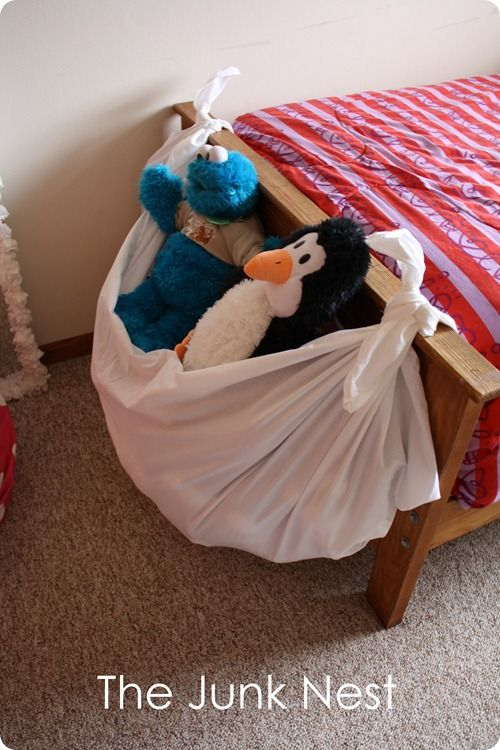 big piece of cloth tied onto the end of the bed instant stuffie storage the trick is to keep. Black Bedroom Furniture Sets. Home Design Ideas