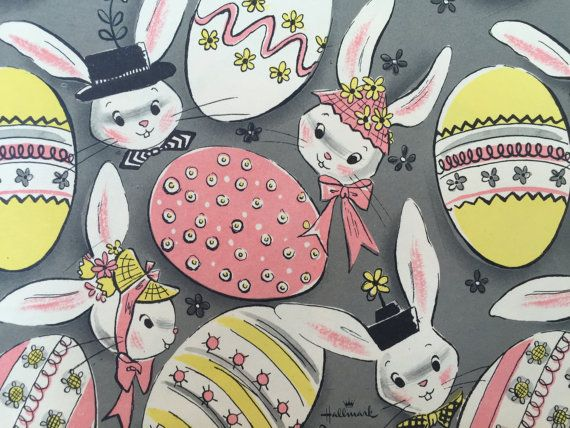 463 best springtime holidays images on pinterest easter card vintage gift wrapping paper hallmark happy easter paper easter bunnies in bonnets with colorful eggs 1 unused full sheet gift wrap negle Images