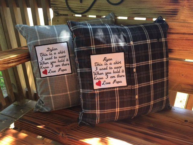 2 MEMORY SHIRT PILLOWS with Square Patch- Memory Pillows, Keepsake Pillows, Memorial Gifts, Throw Pillows, In Memory Of, Memorial Pillows #memoryshirtpillows #keepsakepillows #thisisashirt