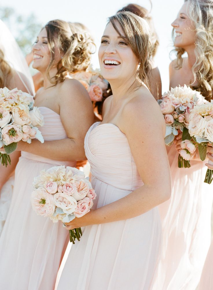 blush colored #bridesmaid gowns by @Amsale Bridal Bridal Bridal Bridesmaids | Photography: Sylvie Gil Photography - sylviegilphotography.com, Design by http://www.tosevents.com/, Florals by http://www.adornmentsflowers.com/