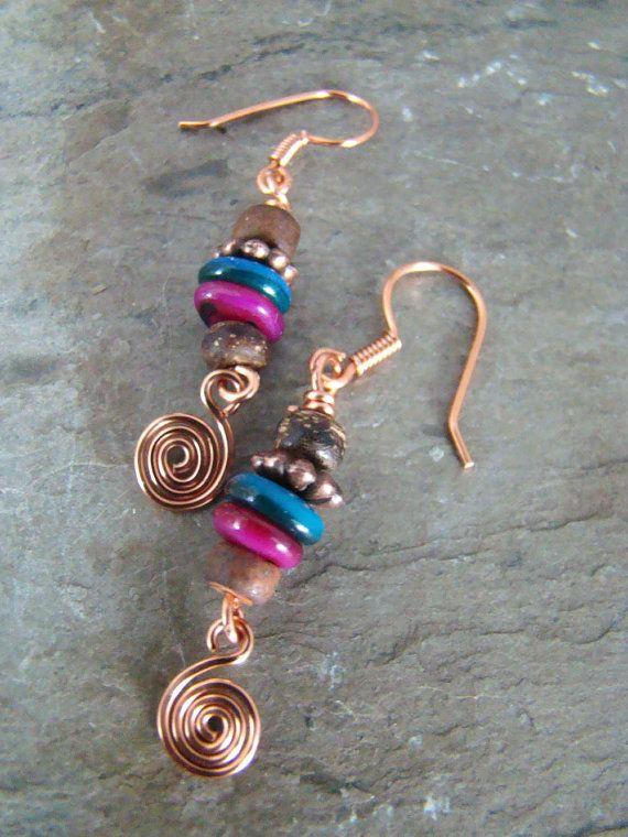 1/3 Off Sale  Handmade Wirework Copper Dangle by Sewartzee on Etsy, $8.00
