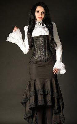 From the Steampunk Fashion Guide to Skirts & Dresses: Trumpet Skirts - an example of a woman wearing a Steampunk Victorian Trumpet Skirt