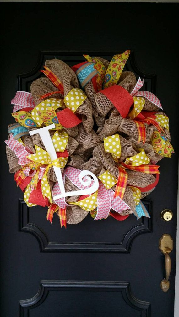 Summer Burlap Wreath Monogram Wreath Coral by Underthekentuckysun