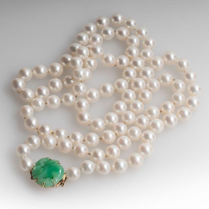 Vintage Pearl And Jade Necklace Vintage Jewelry