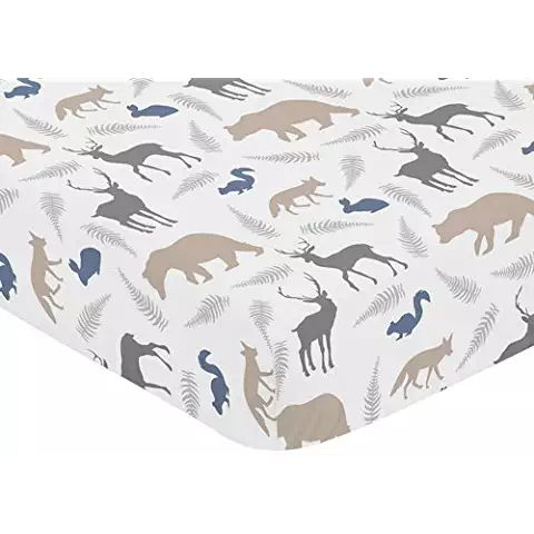 Sweet Jojo Designs Fitted Crib Sheet For Woodland Animals Baby Toddler Bedding Set Collection