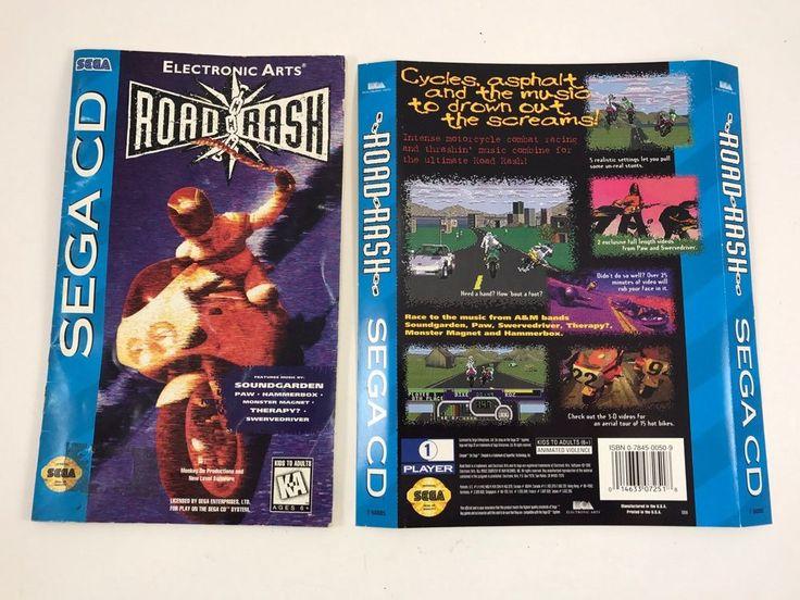 Road Rash Sega CD 1994 Manual & Original Back Cover Art Only - NO GAME