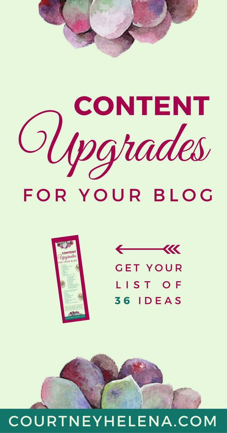 Grow your blog email subscriber list! Get this downloadable list of 36 content upgrade ideas for bloggers to attract their ideal readers. #blogging #email #marketing #contentmarketing | Courtney Helena, Blog + Biz Coach courtneyhelena.com