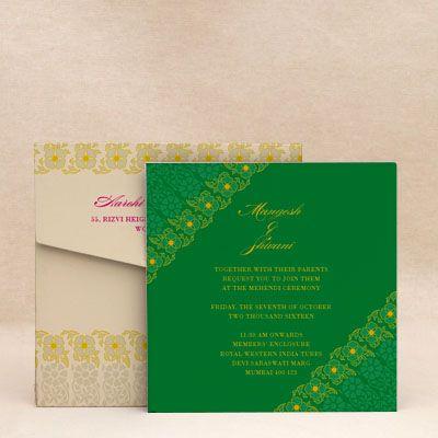 Tutti Frutti Green: Mehendi Wedding Invitation Cards Designs #WeddingCard #WeddingInvite #WeddingInvitations #WaterColor #IndianWedding #paisleys #ChristianWedding #YouAreInvited #Foil #Gold #Bling #Blue #Violet #RSVP #SaveTheDate