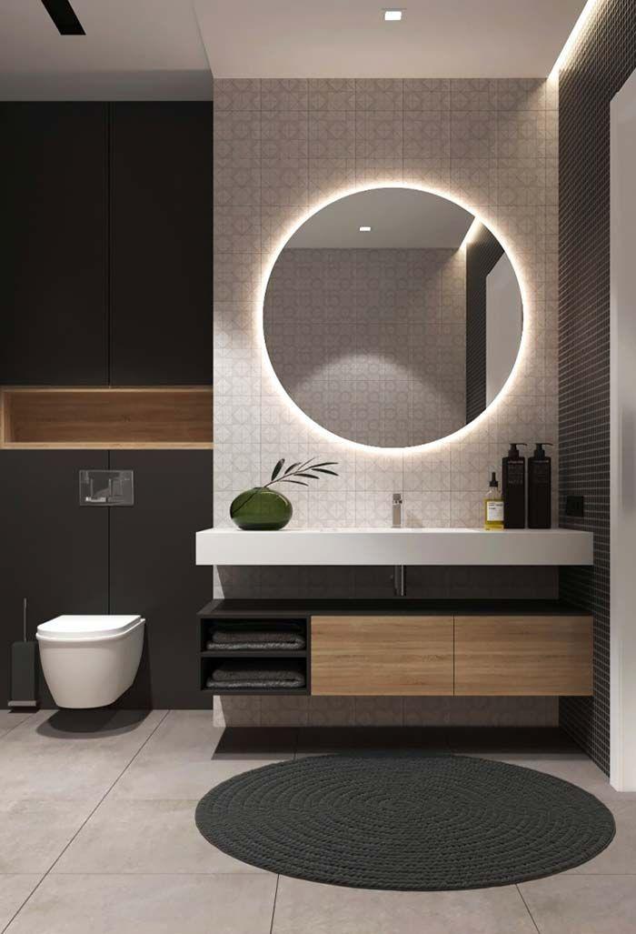 Banheiro Lavabo Espelho Redondo Banheiro Preto Revestimento