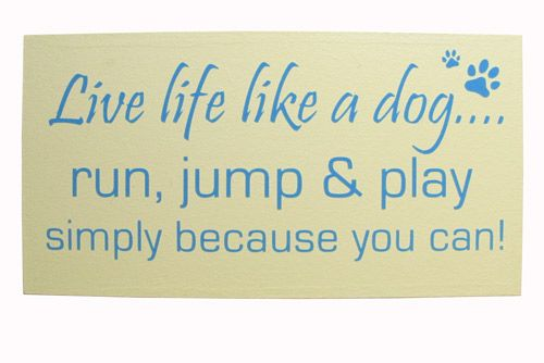 Dog sign. Handmade wall plaque. Live life like a dog....run, jump & play simply because you can!