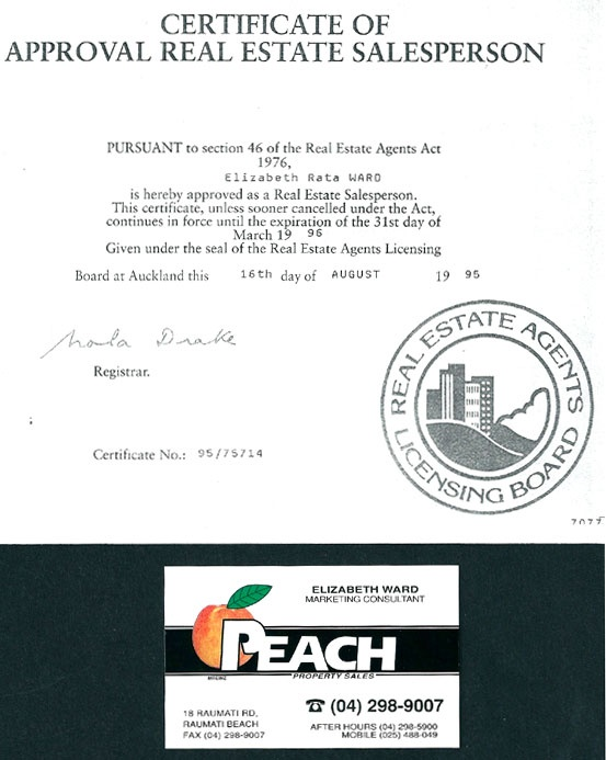 Marketing Consultant, Peach Property Sales, March 1995 – October 1995. Understanding client needs, communicating effectively, negotiating contracts, working as part of a team, and dealing with highly sensitive and often emotionally charged situations.
