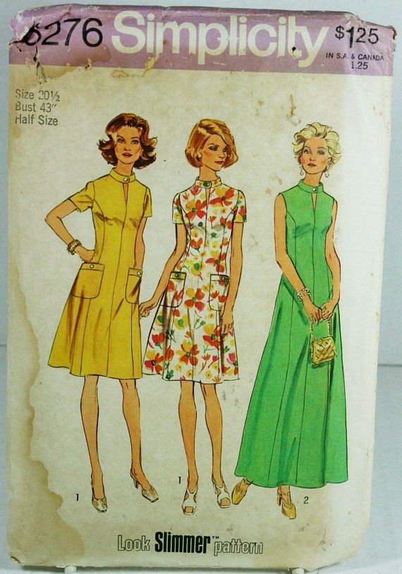 Simplicity 6276 Sewing Pattern Half Size 20.5 Slimming Dress ...